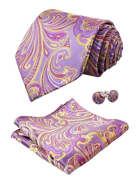 Alizeal Multicolor-Corbata Pañuelo y Gemelos para Hombre, Lila+ ...