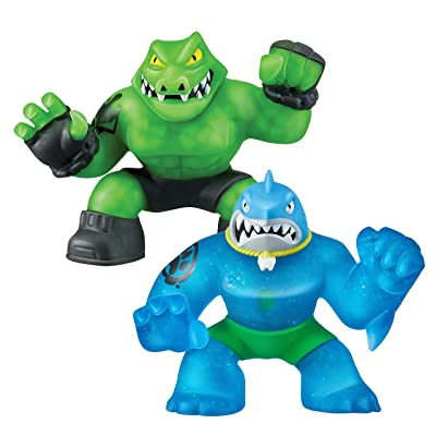 Heroes of Goo Jit Zu - 2 Pack of Glow in The Dark Action Figures, Thrash Vs Rockjaw: Toys & Games [5Bkhe0804803]