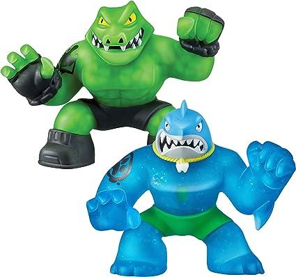 Heroes of Goo Jit Zu 2 Pack of Glow in The Dark Action Figures Thrash vs Rockjaw
