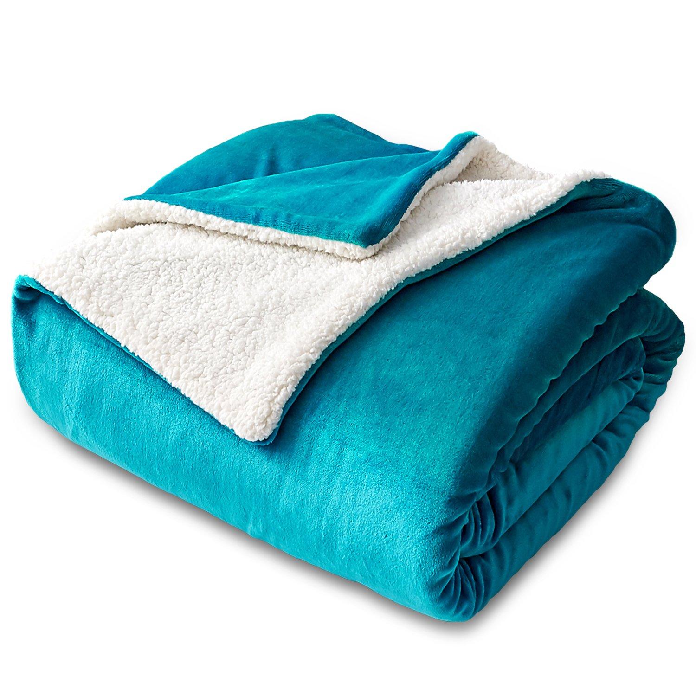 Bedsure Sherpa Fleece Blanket Twin Size Teal Plush Blanket Fuzzy Soft Blanket Microfiber