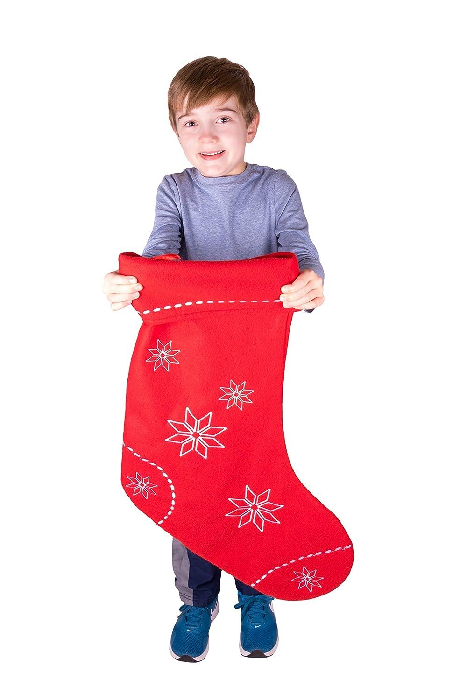 Clever Creations Chaussette de Noël à Suspendre - à Motif Grand Flocon de Neige - pour Enfant/ado/Adulte - décoration de fêtes - idéale pour Les Petits Cadeaux/Bonbons - Rouge/Blanc - 66 cm
