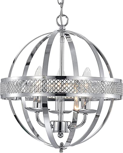 MO OK Chandelier Industrial Globe Chandeliers Lights 3-Light Chrome Lighting Fixture