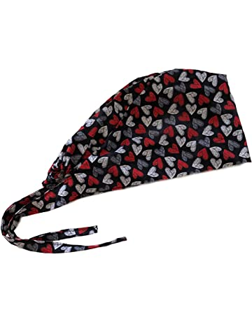 7c216537cd1 Women s Front Fold Tie Back Scrub Cap Surgical Cap Hearts