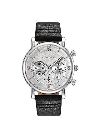 b3e0394f1059 Gant Springfield - Reloj de Cuarzo para Hombre con Esfera analógica y Negro  Correa de Piel Plata gt007001  Amazon.es  Relojes