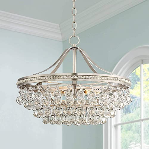 Wohlfurst Brushed Nickel Pendant Chandelier 20 1 4 Wide Clear Crystal 5-Light Fixture for Dining Room House Foyer Kitchen Island Entryway Bedroom Living Room – Vienna Full Spectrum