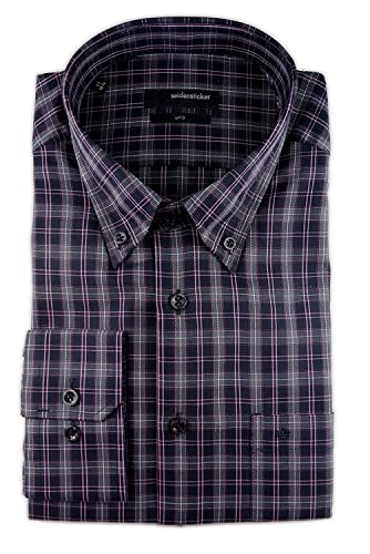 Seidensticker Herren Langarm Hemd Uno Regular Fit Button-Down-Kragen mehrfarbig kariert 131842.48