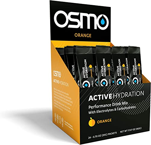 Osmo Nutrition – Active Hydration – During-Exercise Hydration Powdered Drink Mix – Fastest Way to Rehydrate – Improves Power Output Endurance – Orange – 24 Single Servings
