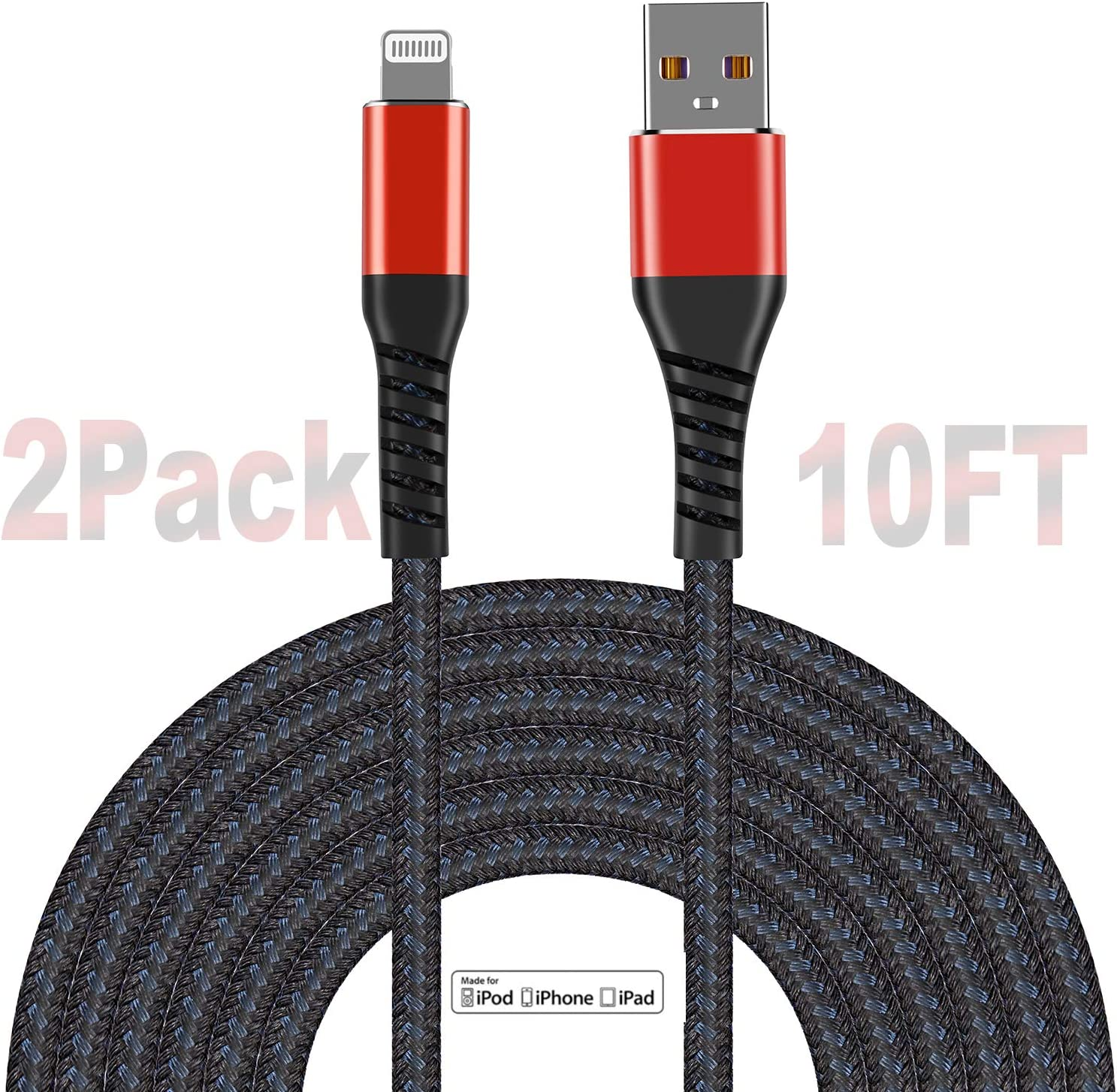 Apple MFi Certified (2pack) iPhone Charger 10ft, Lightning Cable Extra Long 10 Foot Charger Cable, Fast iPhone USB Cord for iPhone 11/11Pro/11Max/ X/XS/XR/XS Max/8/7/6/5S/SE/iPad Mini Air/Red