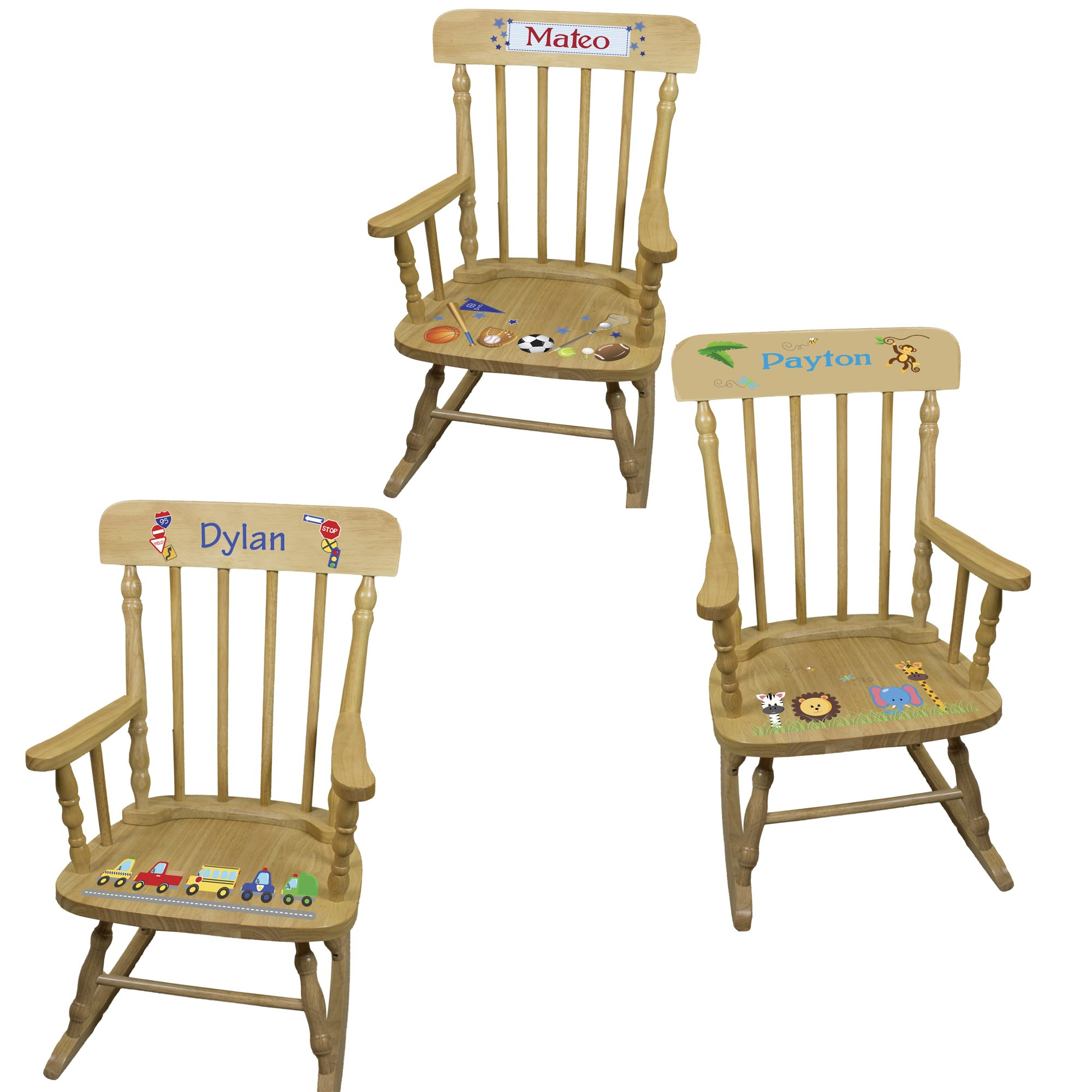 Personalized Boys Wooden Rocking Chair