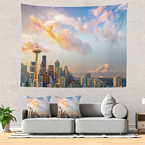 Batmerry Seattle Skyline Tapestry, Seattle Skyline Seattle Washington Picnic Mat Hippie Trippy Tapestry Wall Art Meditation Decor for Bedroom Living Room Dorm, 59.1 x 82.7 Inches, Dusk Blue Orange