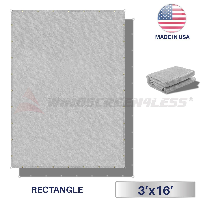 Windscreen4less Straight Edge Sun Shade Sail,Rectangle Outdoor Shade Cloth Pergola Cover UV Block Fabric 180GSM - Custom Size Light Grey 3' X 16'