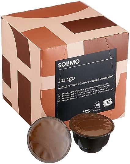 Marca Amazon - Solimo Cápsulas Lungo, compatibles Dolce Gusto* - café certificado UTZ -