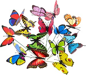 HOWLT Butterfly Stakes, 60PCS 14in Garden Butterfly Ornaments Waterproof Butterflies Decorations for Yard Patio Outdoor