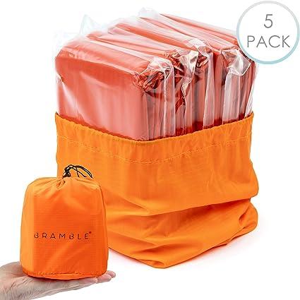 5 Sac de Couchage de Survie, Couverture de Survie d'Urgence Isolation Thermique Polyéthylène Matériel Très Visible Portable Résistant aux
