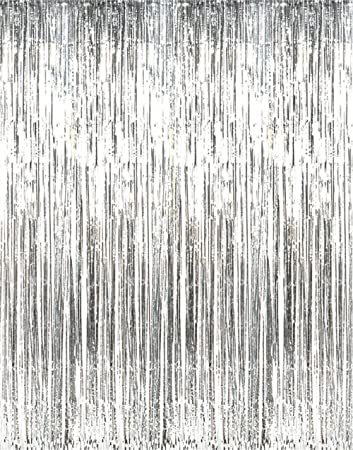 Metallic Silver Foil Fringe Shiny Curtains For Party Prom Birthday Event Decorations 3