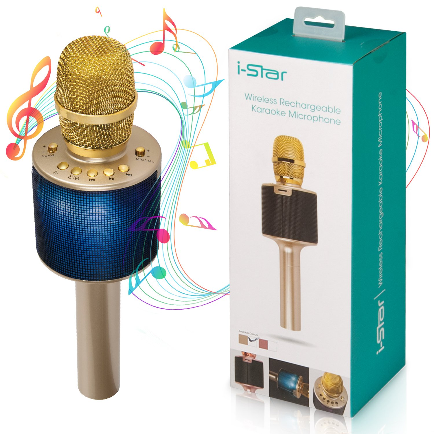 Bluetooth Karaoke Microphone | Wireless 3-in-1 Portable Handheld Karaoke Machine Adults Kids | Pairable Mic Duets Multi Color LED Lights (Gold) Istar PI00648