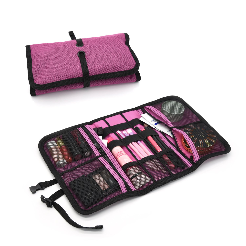 Patu Makeup Cosmetic Bag, Handy Beauty Stuff Carry Case, Electronics Accessories Travel Gear Storage Organizer, Women Facial Cleanser Skincare Kit Pouch, Pencil Clutch, Magenta