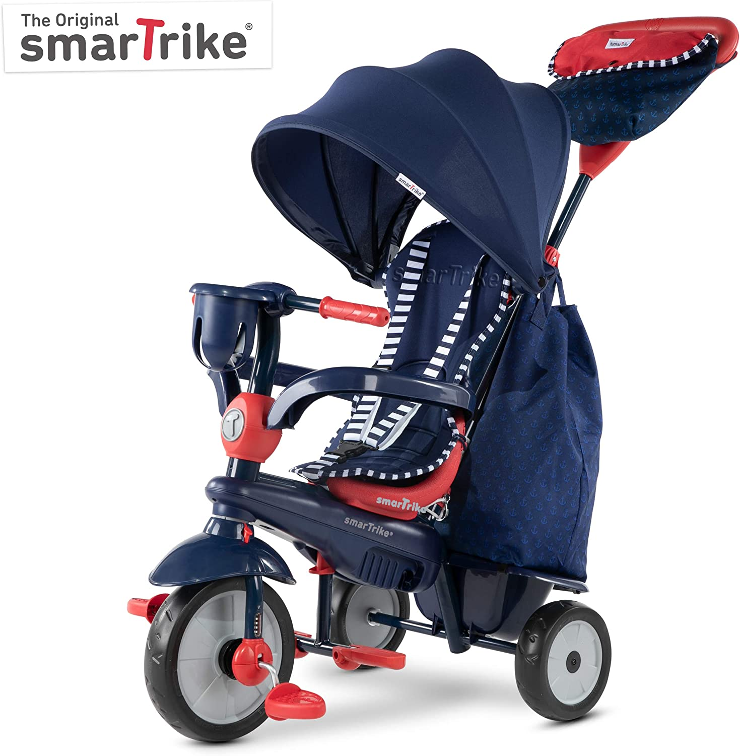 smarTrike Swirl Toddler Tricycle for 1,2,3 Year Olds - 4 in 1 Multi-Stage Trike, Navy