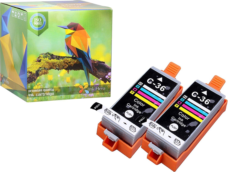 Ink Hero 2カラーインクカートリッジのCLI - 36 PIXMA ip100 ip110 mini260 mini320プリンタインクジェットプリンタ用インク B073XP8W62