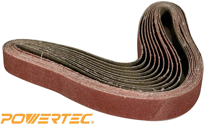 10 Pack POWERTEC 111540 40 Grit Aluminum Oxide Sanding Belt 2 x 72