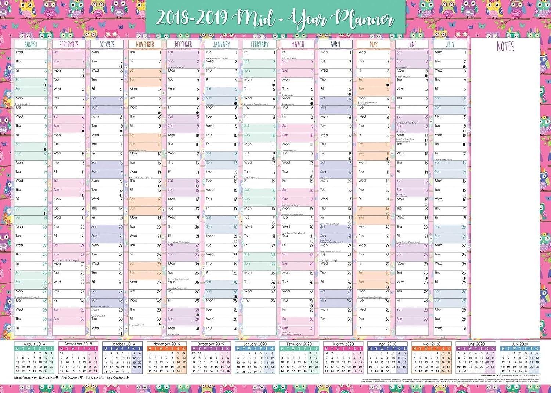 Planner/calendario da parete annuale per anno scolastico/accademico 2018-2019, formato A1 -Gufi Tallon Int Ltd