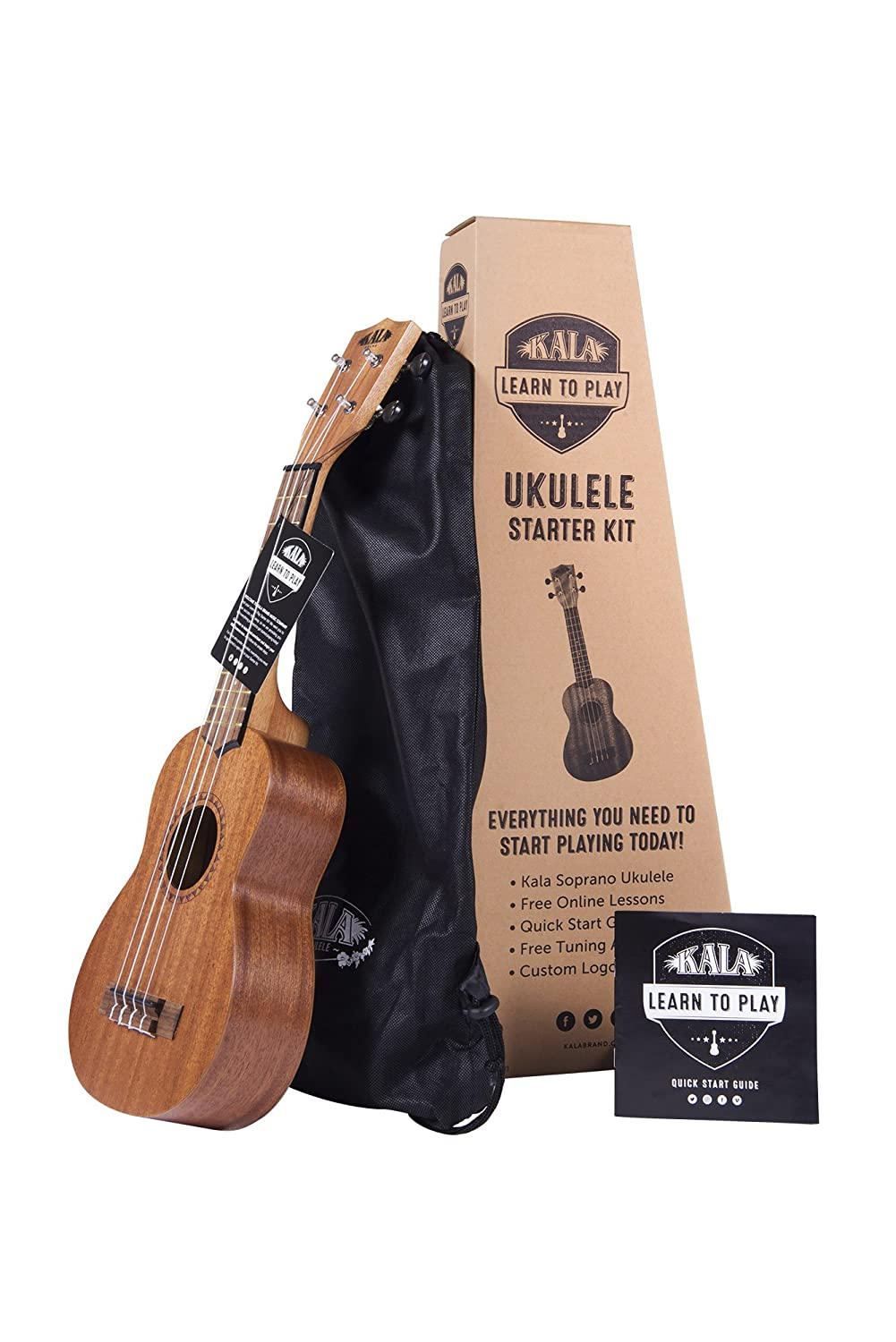 Kala Official Learn to Play Ukulele Soprano Starter Kit, Satin Mahogany – Includes online lessons, tuner app, and booklet (KALA-LTP-S)