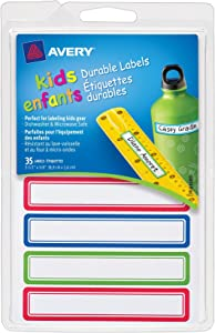 Avery Durable Labels for Kids' Gear, Assorted, 0.625 x 3.5 Inches, Pack of 35 (41428)