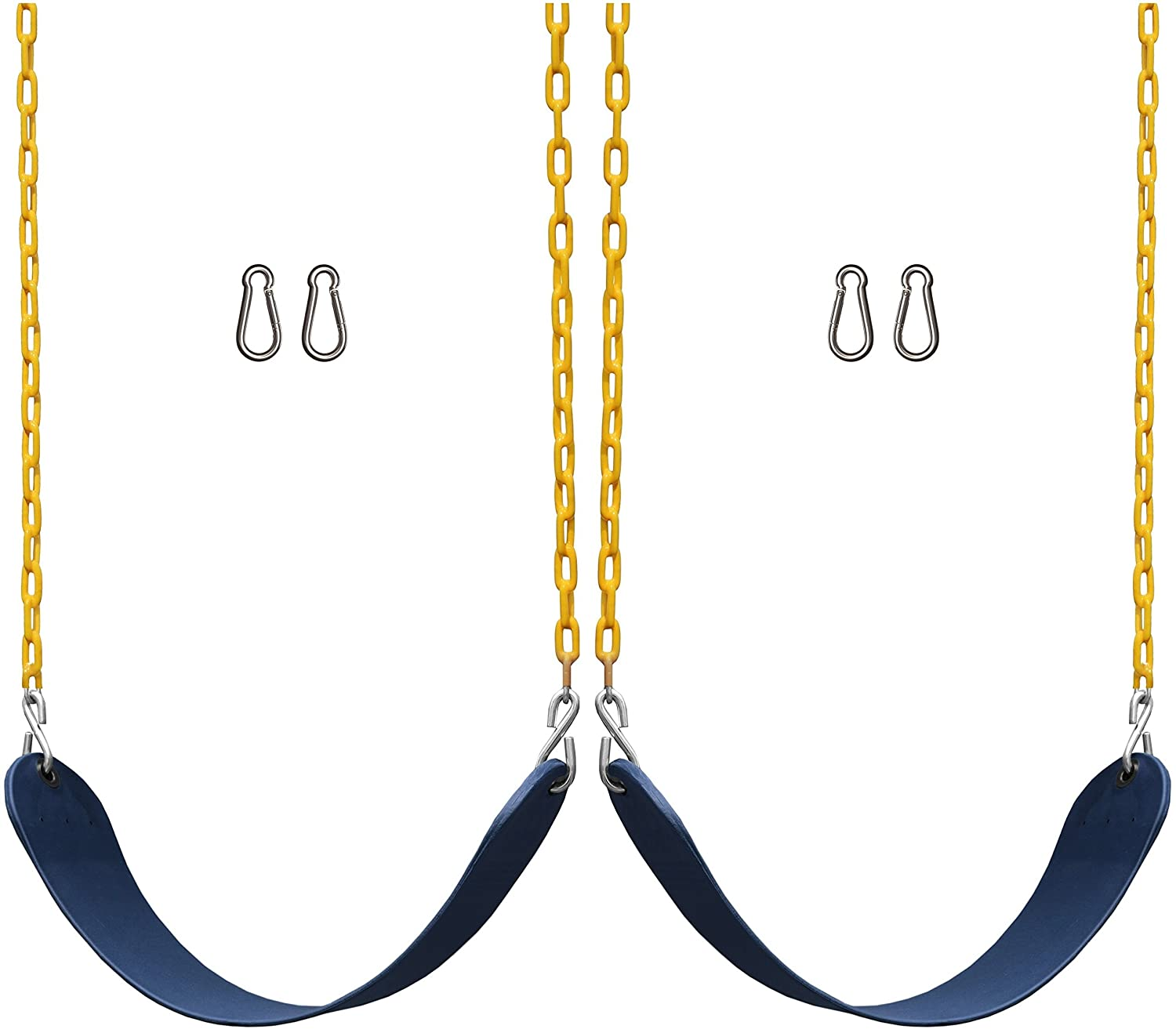 Jungle Gym Kingdom 2 Pack Swings Seats Heavy Duty 66 Chain Plastic Coated - Playground Swing Set Accessories Replacement Snap Hooks (Blue)