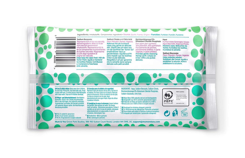 98/% Deau 0/% de Plastique 1008 Lingettes au Total Mum /& You Lingettes Humides 100/% Biod/égradables pour B/ébe paquet de 18, Hypoallerg/énique et Test/é Dermatologiquement.