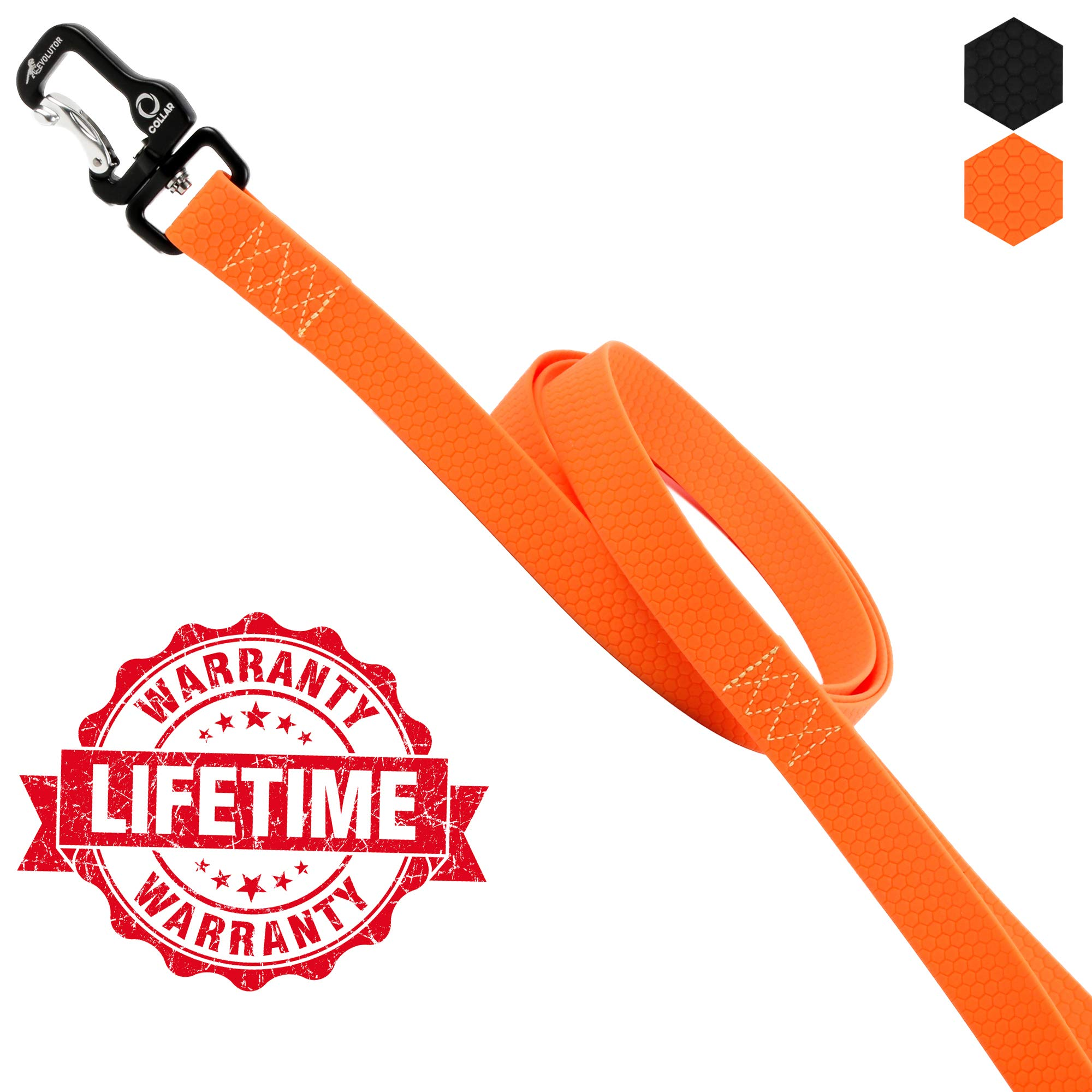 COLLAR Heavy Duty Dog Leash for Large Medium Dogs - Leash EVOLUTOR for Dogs up to 220 lbs (3.94 FT, Orange)