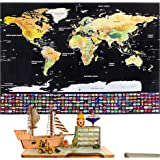 Rabbitgoo Scratch Off World Map Poster with Country and Region Flags, World Travel Tracker Map Wall Map Decoration Gift for Adventurers and Geography Enthusiasts, 82.5 X 59.5 centimeters, (32.2 x 23.2 inches), Black Gold