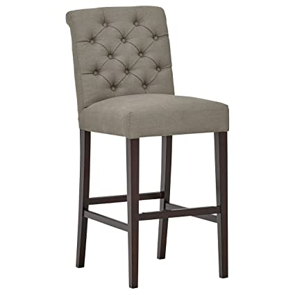 Excellent Stone Beam Carson Leather Tufted Bar Height Stool 45H Slate Dailytribune Chair Design For Home Dailytribuneorg