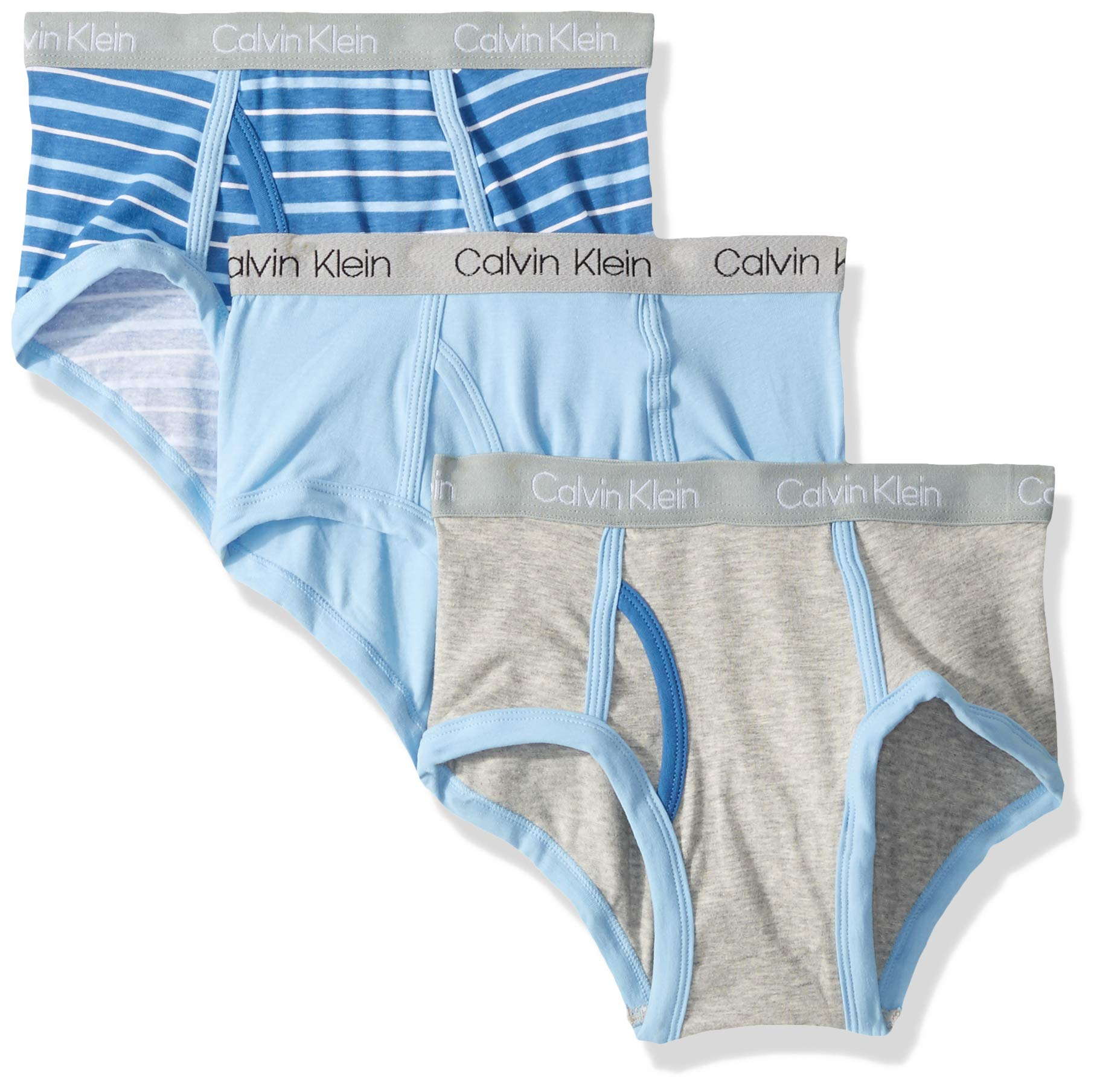 Calvin Klein Big Boys' Modern Cotton Assorted Briefs Underwear, Multipack, Stripe, Blue Bell, Heather Grey, Medium-8/10
