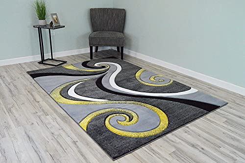 PlanetRugs Premium 3D Effect Hand Carved Thick Modern Contemporary Abstract Area Rug Design 327 Yellow 5'3''x7'6''