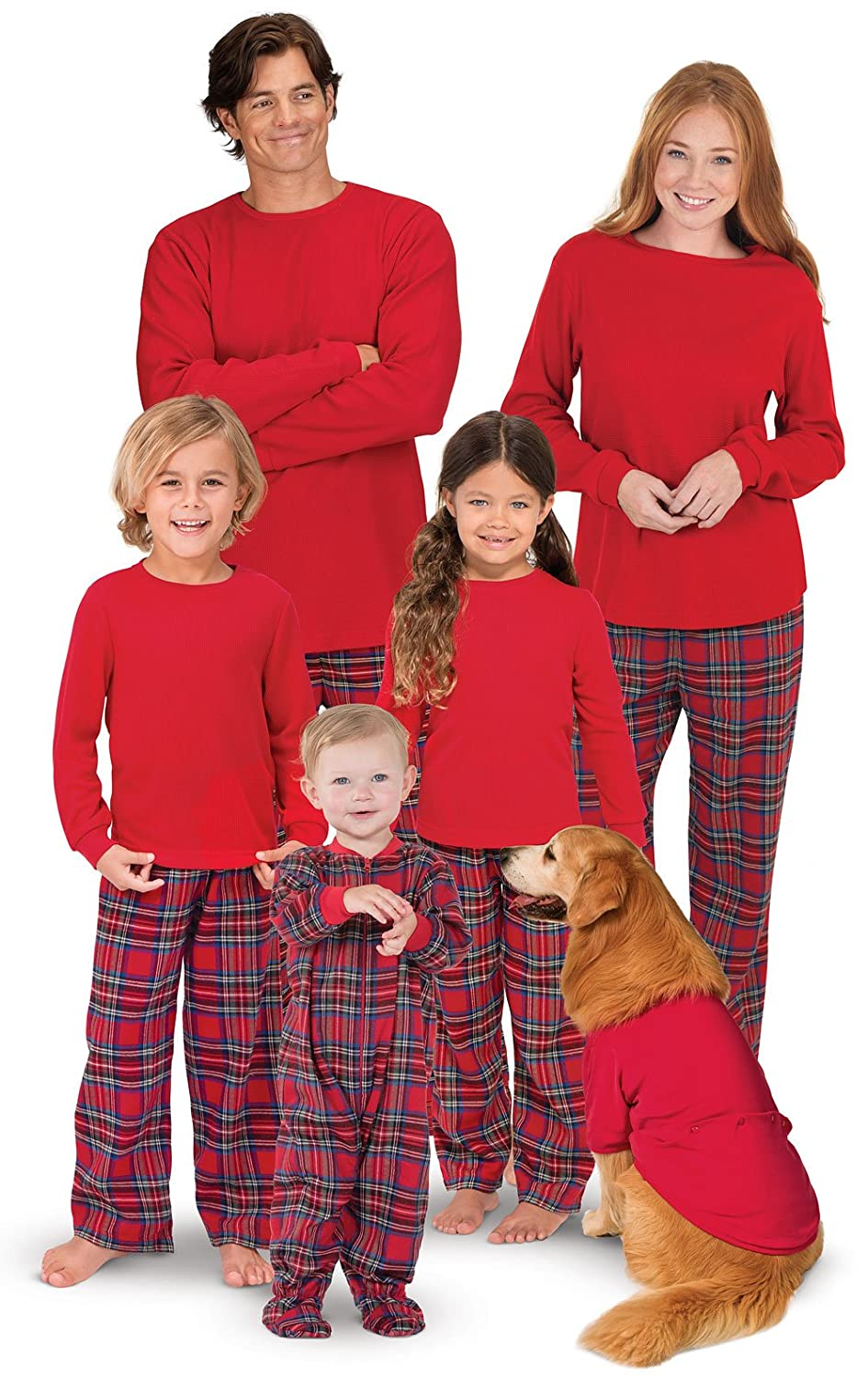 bfb49c2544 Amazon.com  PajamaGram Family Christmas Pajamas Set - Cotton Flannel ...