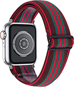 MEFEO Adjustable Elastic Bands Compatible with Apple Watch Bands 38mm 40mm 42mm 44mm, Soft Stretch Bracelet Replacement for iWatch Series 6/5/4/3/2/1 & SE Women Girls (Black Green Red, 38mm/40mm)