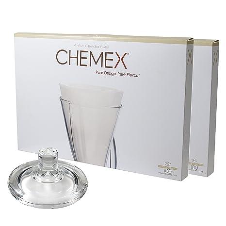 Amazon.com: Chemex Cafetera de vidrio tapa y 200 unidades ...