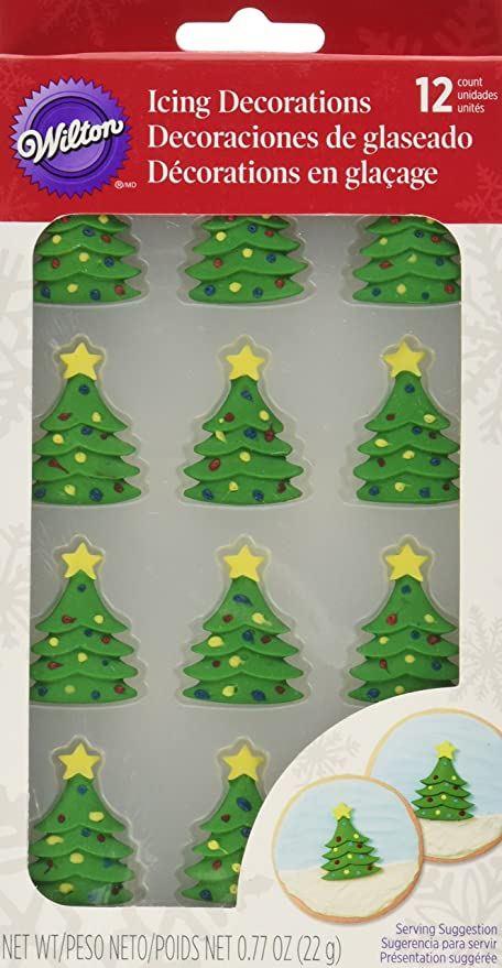 wilton 710 3468 12 count christmas tree royal icing decorations - Amazon Christmas Tree Decorations