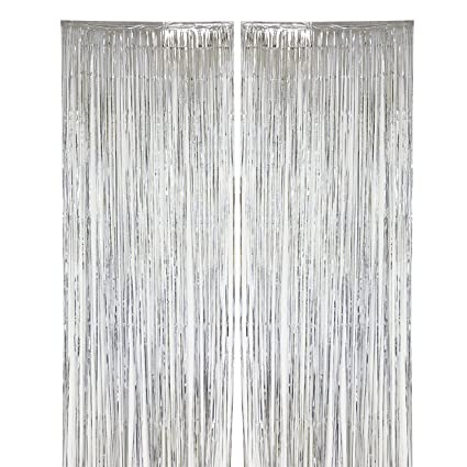 Blue Panda 2 Pack Silver Fringe Curtains