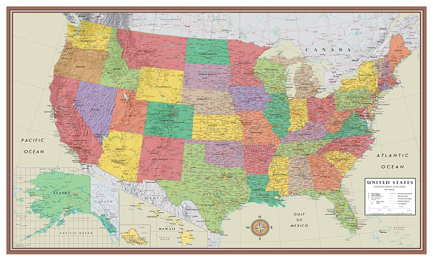 Amazoncom X United States USA Contemporary Elite Wall Map - States in us map