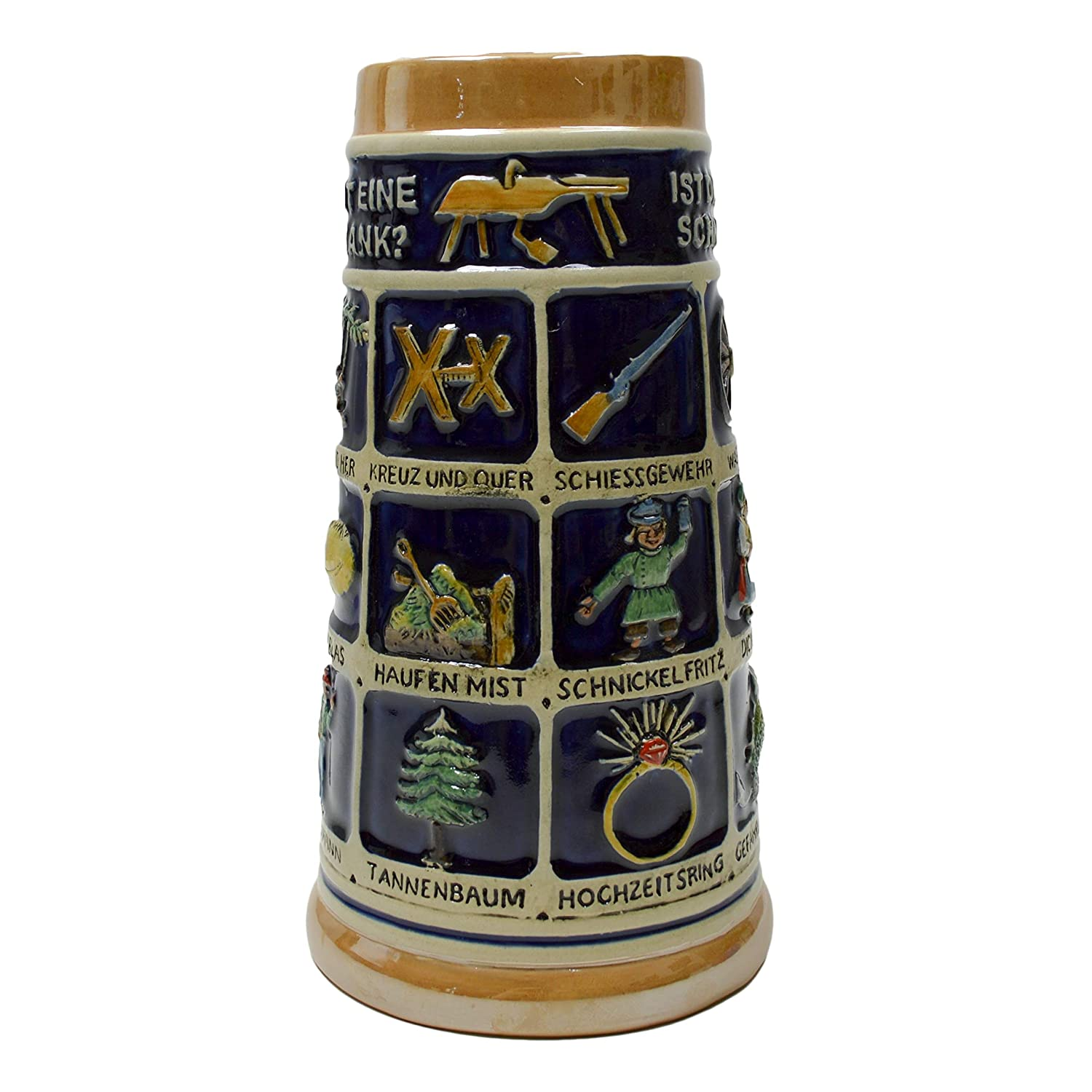 German Schnitzelbank Song .9 Liter Beer Mug Beer Stein Essence of Europe Gifts E.H.G S4512