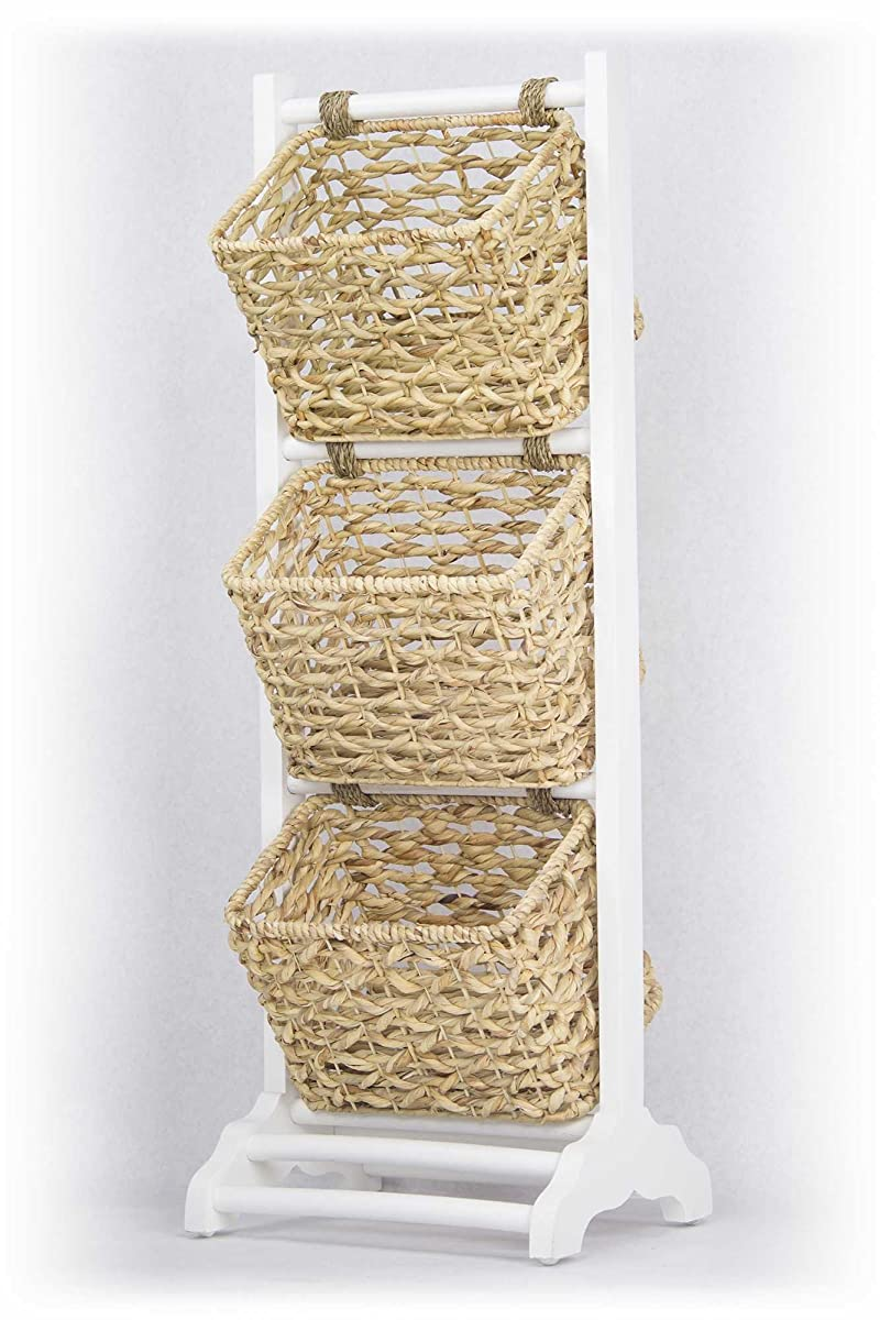 Heather Ann Creations Vale Collection Bohemian Three Basket Magazine Rack, Wicker Finish, White/Wicker