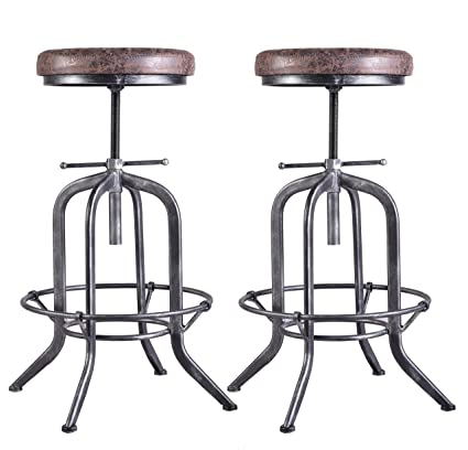 Prime Set Of 2 Industrial Bar Stool Adjustable Swivel Vintage Pu Leather Bar Stool Rustic Cast Iron Stool Round Cushion Seat Metal Stool Kitchen Counter Pabps2019 Chair Design Images Pabps2019Com