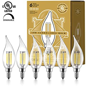 LED Vintage Candelabra Light Bulbs (6) - Edison Filament Flame Tip - 4 Watt - Dimmable - UL Listed - 400 Lumen - Warm 2700K Color - E12 Bulb Base