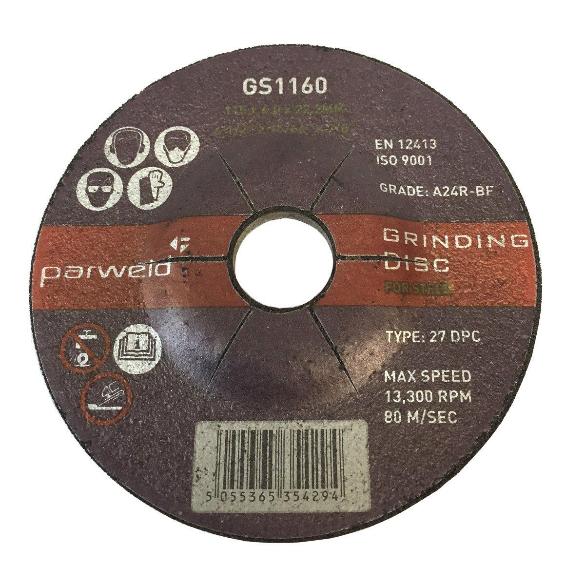 4.5 Parweld 115mm Grinding discs for steel 115 x 6.0 x 22.2mm PACK OF 100