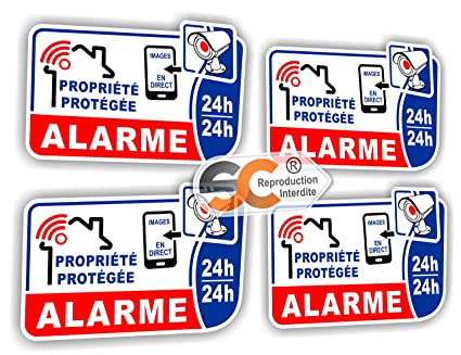 Sticker-Adhesivo de vídeo vigilancia alarma () Juego de 4 ...