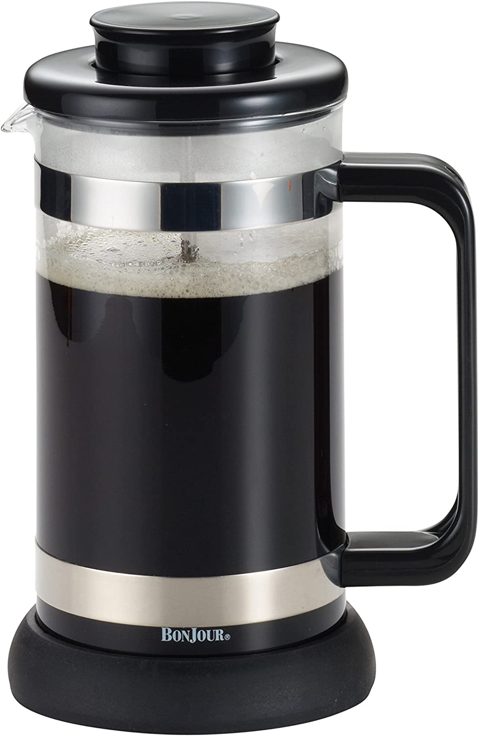 BonJour Coffee Borosilicate Glass French Press with Coaster Scoop, 33.8-Ounce, Riviera, Black