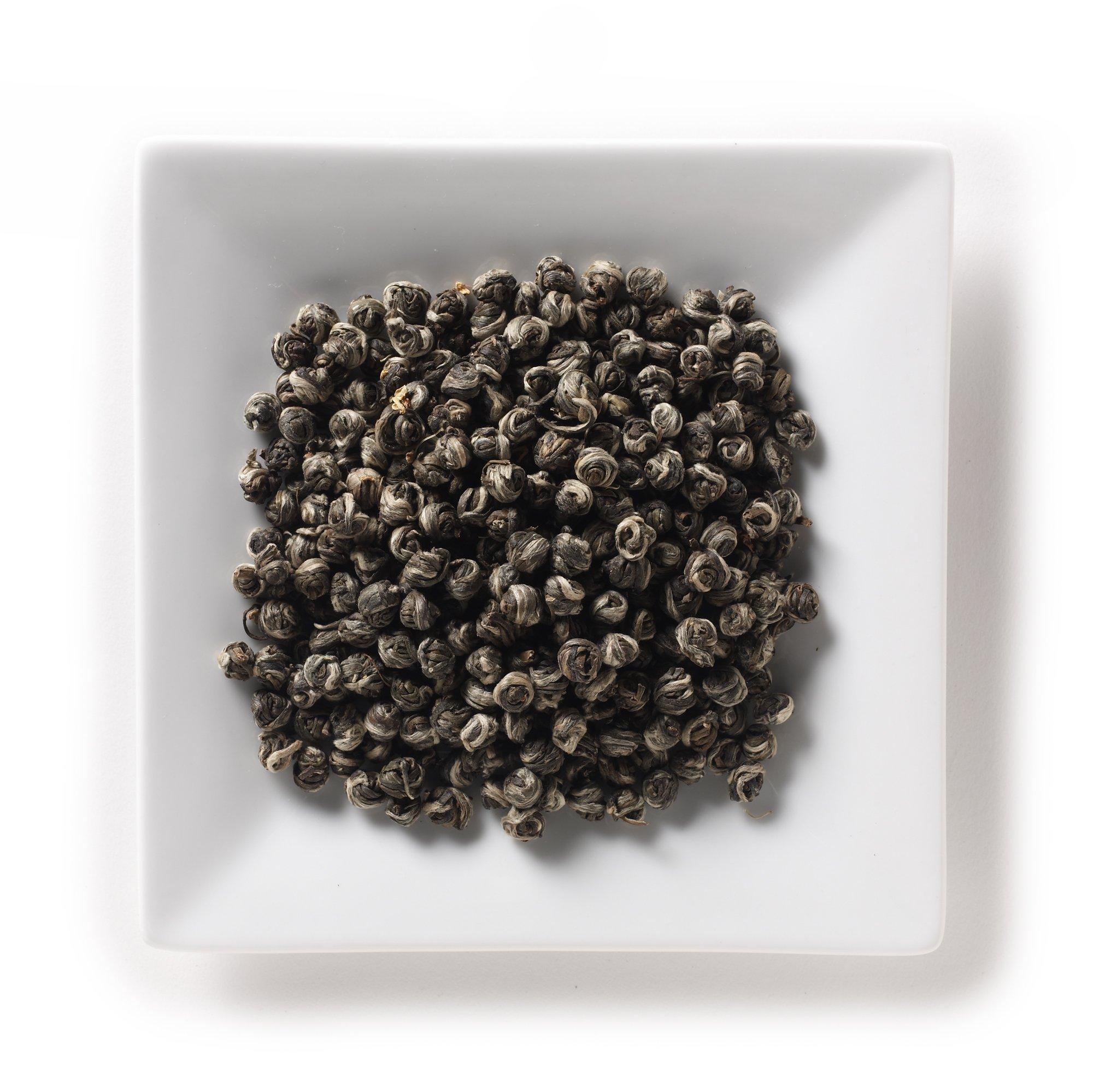 Mahamosa Flavored Green Tea Blend and Tea Infuser Set: 2 oz Osmanthus Dragon Pearls Green Tea, 1 Stainless Steel Tea Ball Infuser (Bundle- 2 items)