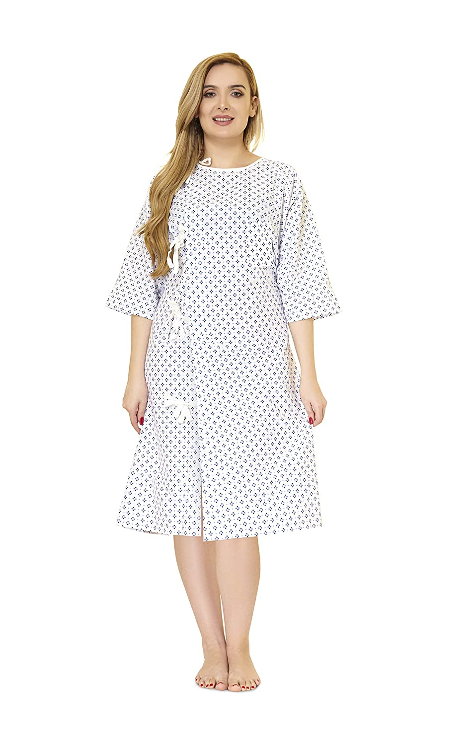 LUXCARE Comfortable Hospital Gown for Women and Men [4 Pack] Hospital Gown Costume ~ Unisex Patient Gowns Fits All Sizes up to XXL, Hospital Gown for Elderly, Hospice, Home Care, Labor Gowns