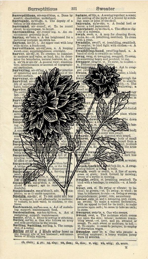 DAHLIA ART PRINT - VINTAGE ART PRINT - FLOWER Art Print - BOTANICAL Illustration - GIFT - Vintage Dictionary Art Print - Wall Hanging - Home Décor - Housewares - Book Print - 310B Vintage Reflectionz
